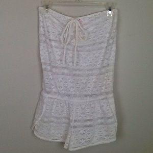 Victoria's Secret white lace romper/cover-up in S